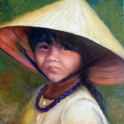 Rice Paddy Painting - Girl With Purple Necklace by Dorothy Nalls