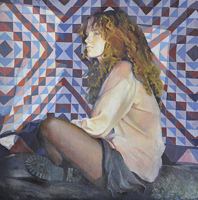 Squat Painting - Girl With Quilt by Lesly Holliday