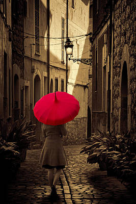 Library Digital Art - Girl With Red Brolly by Martin  Fry