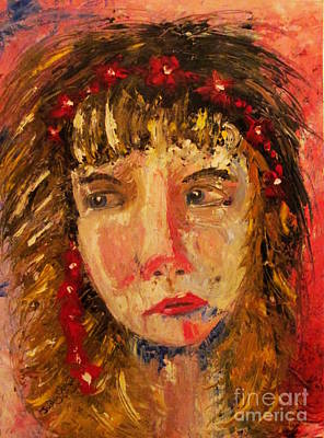 Girl With Red Flowers In Her Hair Art Print