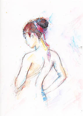 Girl With Red Scarf Art Print by Jovica Kostic
