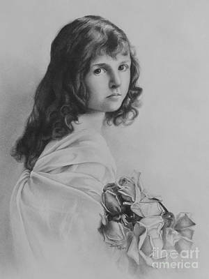 Drawing - Girl With Roses by Becky West