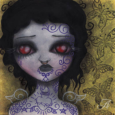 Girl With Tattoos Print by  Abril Andrade Griffith