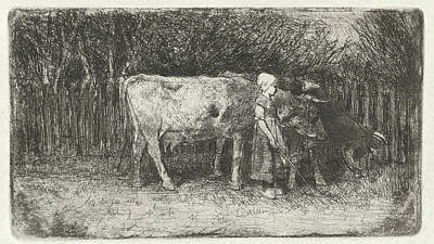 Anton Drawing - Girl With The Cows, Anton Mauve by Anton Mauve