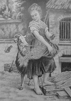 Drawing - Girl With The Goat. by Zdzislaw Dudek