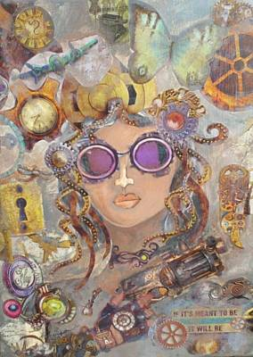 Clock Face Mixed Media - Girl With The Gun by Kristina Thompson