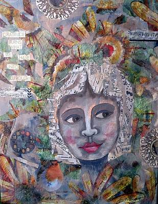 Clock Face Mixed Media - Girl With The Music Hair by Kristina Thompson