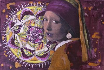 Gold Earrings Painting - Girl With The Pearl Earring And Mandala by Pat Devereaux