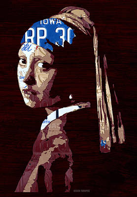 Travel Mixed Media - Girl With The Pearl Earring By Johannes Vermeer License Plate Art by Design Turnpike