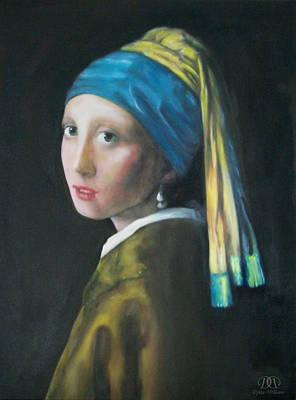 Girl With A Pearl Earring Painting - Girl With The Pearl Earring Reproduction by Dylan Williams