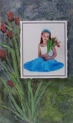 Mixed Media - Girl With Tulips by Anita Burgermeister