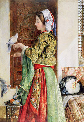 Dove Painting - Girl With Two Caged Doves, Cairo, 1864 by John Frederick Lewis