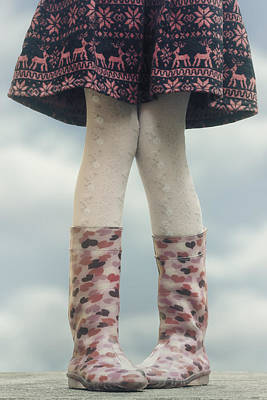 Girl With Wellies Art Print