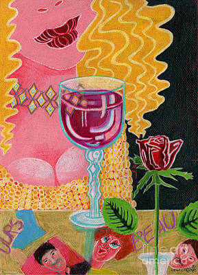 Wine Art Drawing - Girl With Wine Glass by Genevieve Esson
