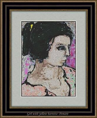 Girl With Yellow Barrette Gwyb2 Art Print