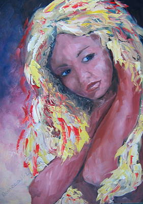 Girl With Yellow Hair Art Print by Susan Richardson