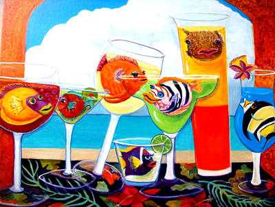 Night Out Painting - Girlfins At The Beach by Linda Kegley
