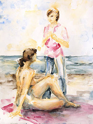 Girlfriends At The Beach Print by Barbara Pommerenke