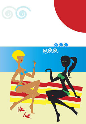 Chatting Friends Drawing - Girlfriends On The Beach by Alain De Maximy