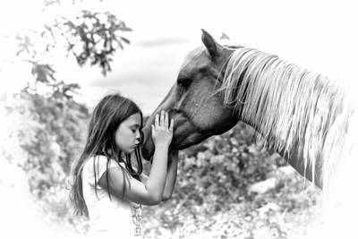 Girls And Their Horses Art Print