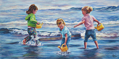 Kids Playing In Sand Painting - Girls At Gooches Beach by Jan Condon