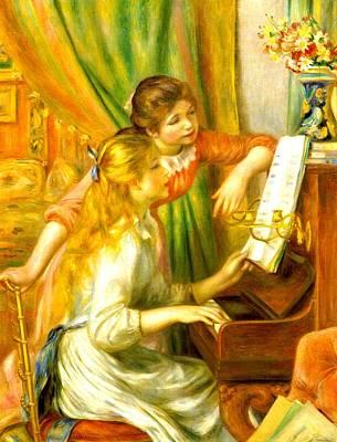 Digital Art - Girls At The Piano by Pierre-Auguste Renoir