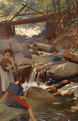 Beautiful Creek Painting - Girls By The Brook by Mountain Dreams