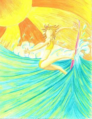 Surfing Art Drawing - Girls Can Surf by Jason Honeycutt
