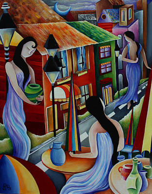 Gas Lamp Painting - Girl's Day Out by Pamela  Perran-Gosnell