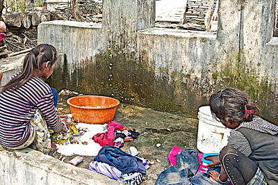 Girls Doing Laundry In The Mother's Village-nepal  Print by Ruth Hager
