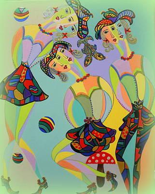 Painting - Girls Fantasy by Marie Schwarzer