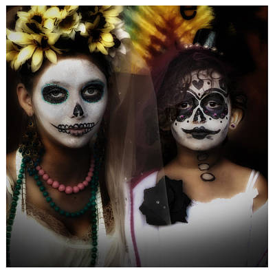 Girls In Costume For Dia Los Muertos Art Print by Gary Warnimont