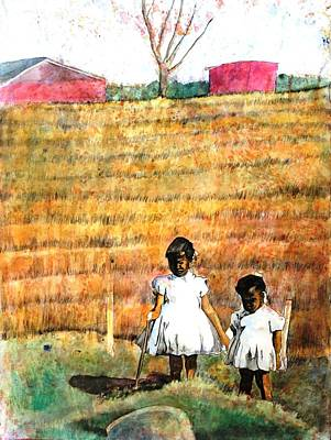 Girls In The Field Art Print by Ron Carson