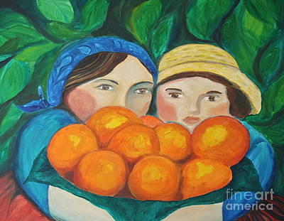 Girls In The Orange Grove Art Print by Teresa Hutto