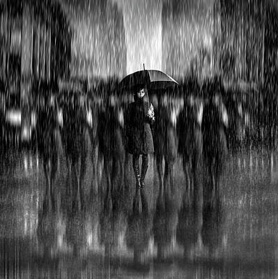 Girls In The Rain Art Print
