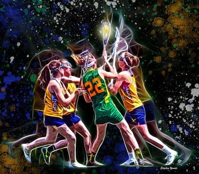 Girls Lax - Battling Through The Triple Team Art Print by Stephen Younts