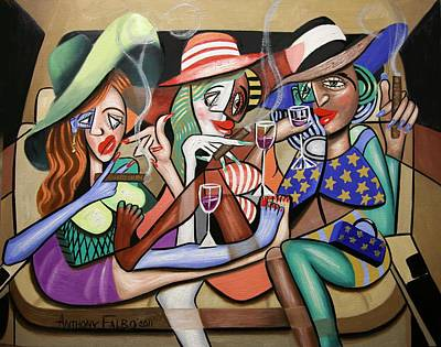 Cubists Digital Art - Girls Night Out by Anthony Falbo