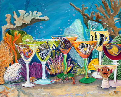 Fish In Art Painting - Girls Night Out At The Reef Bar by Linda Kegley