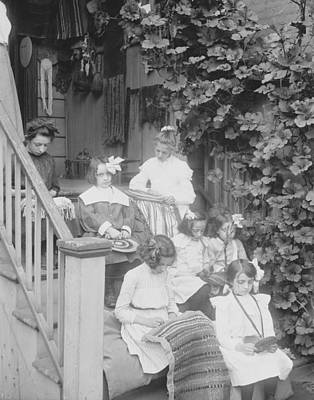 Hand-weaving Photograph - Girls On Porch Weaving Miss Griswold 1890-1915 by Jenny Young Chandler