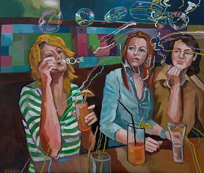 Painting - Girls Party by Carmen Stanescu Kutzelnig