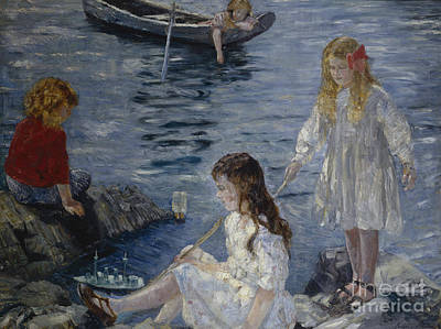 Girls Playing By The Beach Art Print by Halfdan Stroem