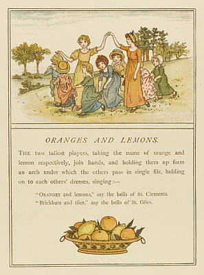 Lemon Drawing - Girls Playing Oranges And Lemons by Mary Evans Picture Library