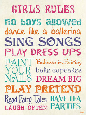Girls Rules Art Print by Debbie DeWitt