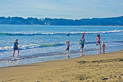 Stinson Beach California Photograph - Girls Running Down Stinson Beach-california  by Ruth Hager