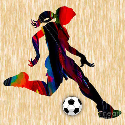 Girls Soccer Art Print by Marvin Blaine