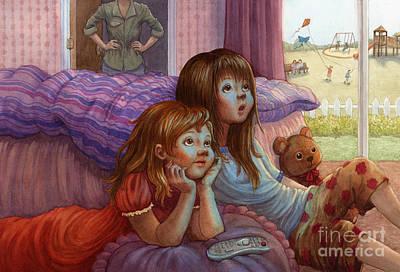 Girls Staring At Tv Art Print by Isabella Kung