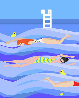 Digital Art - Girls Swimming In The Swimming Pool by Jelena Zivkovic