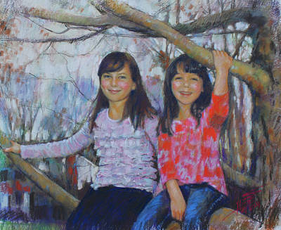 Art Print featuring the drawing Girls Upon The Tree by Viola El