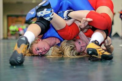 Female Athletics Photograph - Girls Wrestling Championships by Jim West