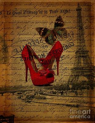 Girly Fuschia Stilettos Shoes Blue Butterfly  Paris Eiffel Tower Fashion Art Print